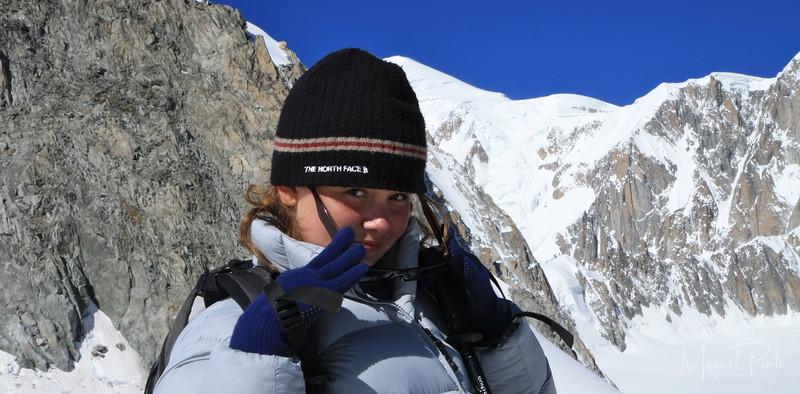 Maya avec le Mont Blanc