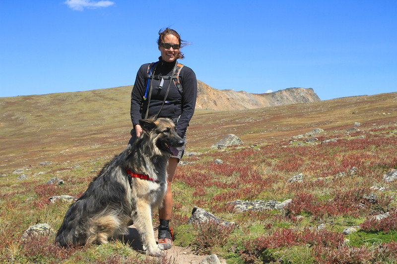 Jane with George in the tundra of the Continental Divide