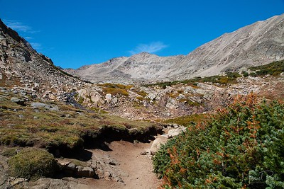 Blue Lake Trail, reaching the tree line and approaching Blue Lake