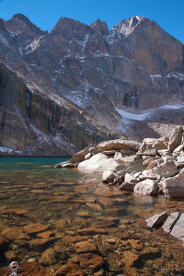 The Blue Green waters of Chasm Lake
