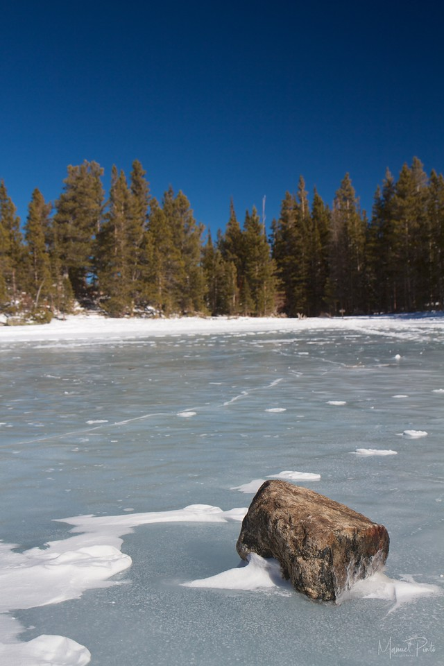 Stone on Ice over Nymph Lake, <br /> Rocky Mountain National Park<br /> February 2013