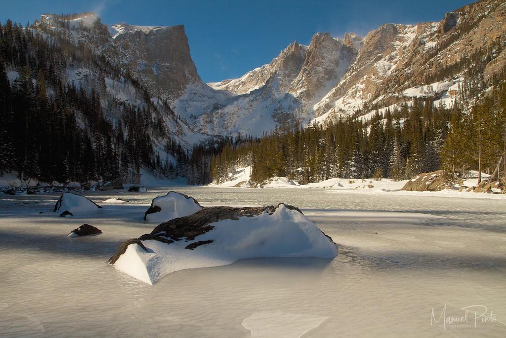 A frozen Dream Lake, Rocky Mountain National Park, Colorado<br /> 2013 February