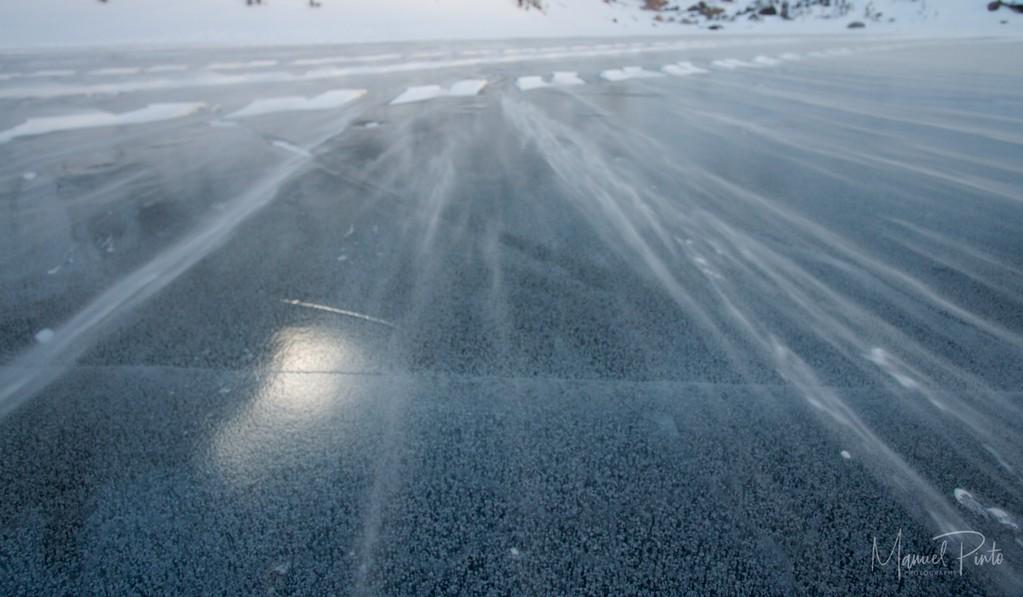 Frozen ice bubbles in Emerald Lake