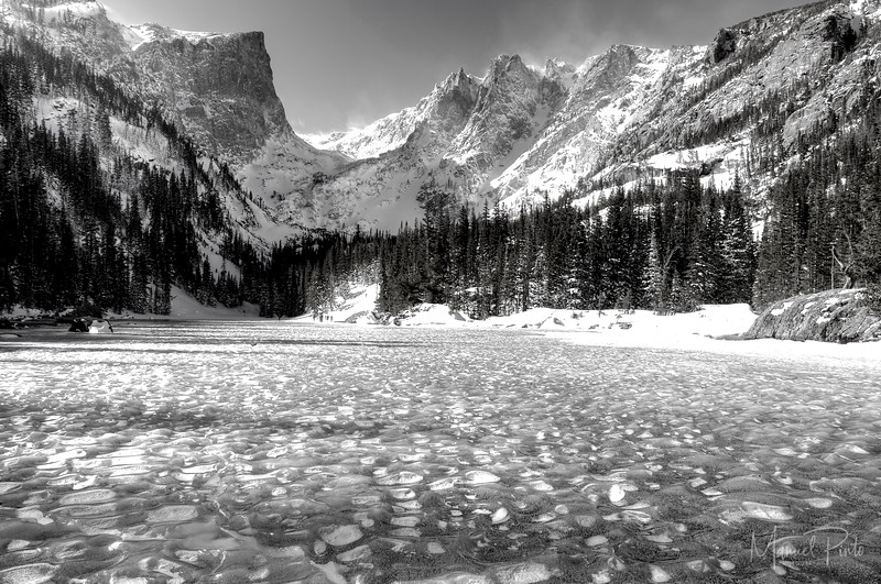 A frozen Dream Lake<br /> Rocky Mountain National Park, Colorado<br /> Black & white<br /> 2013 February