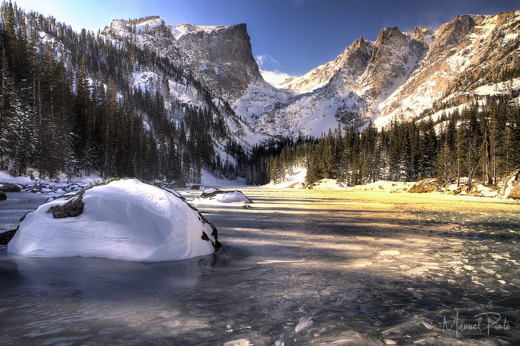 A frozen Dream Lake<br /> Rocky Mountain National Park, Colorado<br /> HDR 3 exposures<br /> 2013 February
