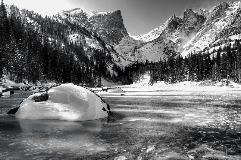 A frozen Dream Lake,<br /> Rocky Mountain National Park, Colorado<br /> Black & white<br /> 2013 February
