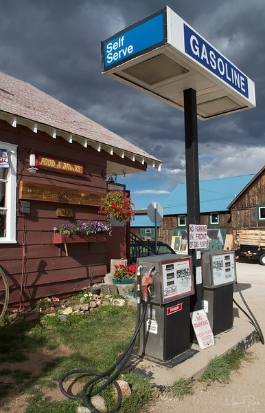 Stormy skies at the one and only gas station at Twin Lakes