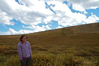 Maya in cold and windy conditions at Independence Pass