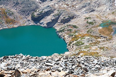 Blue Lake seen from top of Mt Audubon, notice the tiny waterfall (its not tiny)