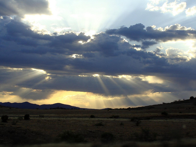 On the drive up Friday night I caught the setting sun's rays peaking through the clouds.