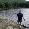 Relaxing around Guilder Pond after a brief swim.