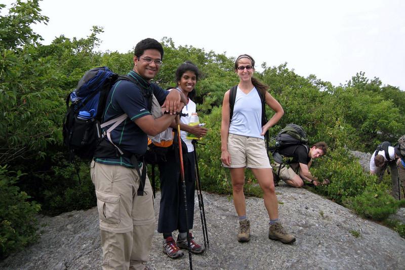 Raghu, Anita, and Nicole.  Alkes is in the background gathering blueberries.