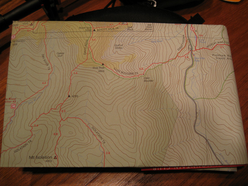 Topo map of the route we took to Mount Isolation.  Highest point was actually at the junction of Davis Path and Glen Boulder Trail.