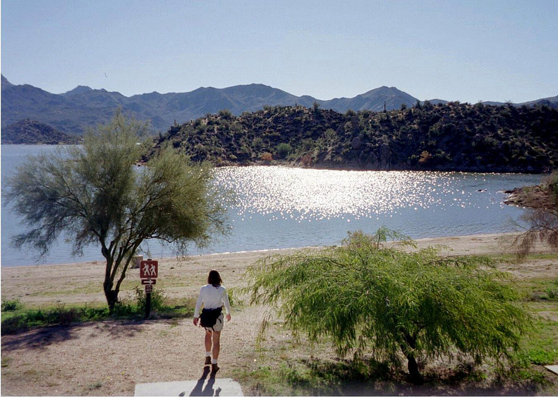 My hiking friend Sharon at the beginning of the trail which starts on the beach at Rattlesnake Cove.