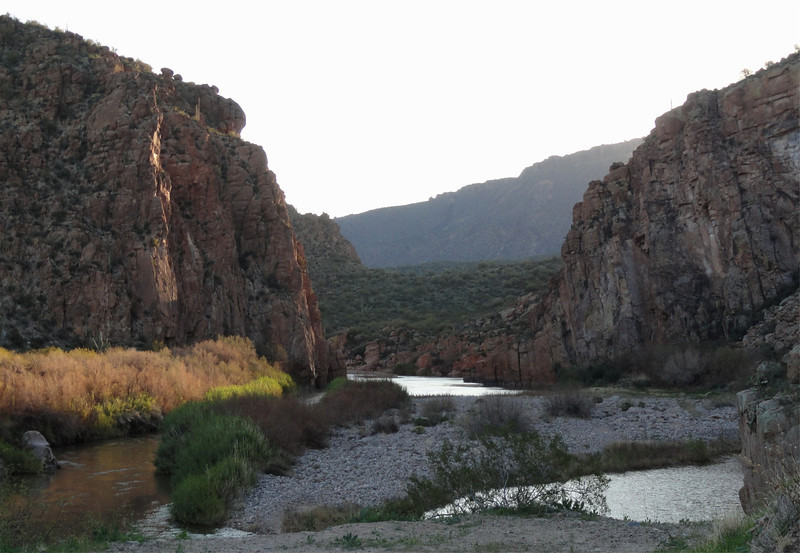 Took this picture as we crossed the Salt River looking east, right before it flowed into Roosevelt Lake to the west.