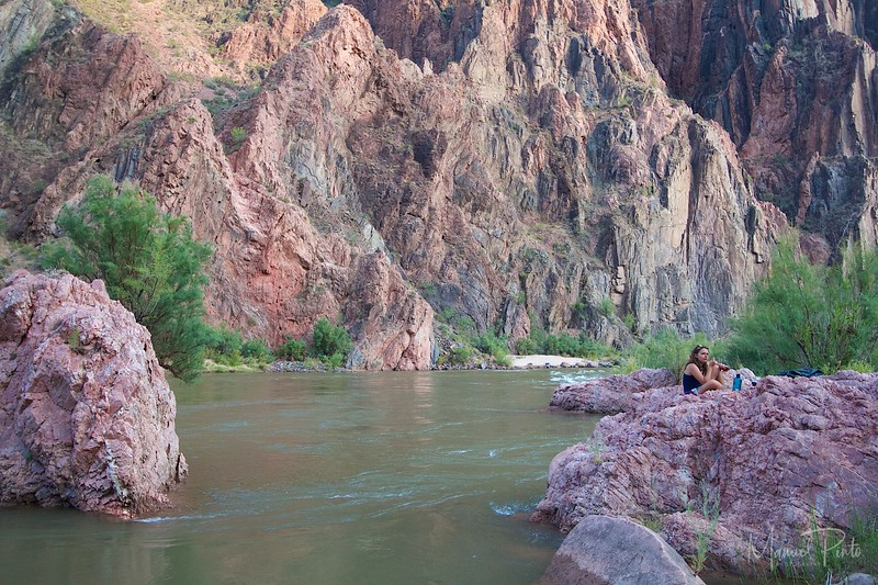 On the Colorado River at Phantom Ranch<br /> Dinner picnic