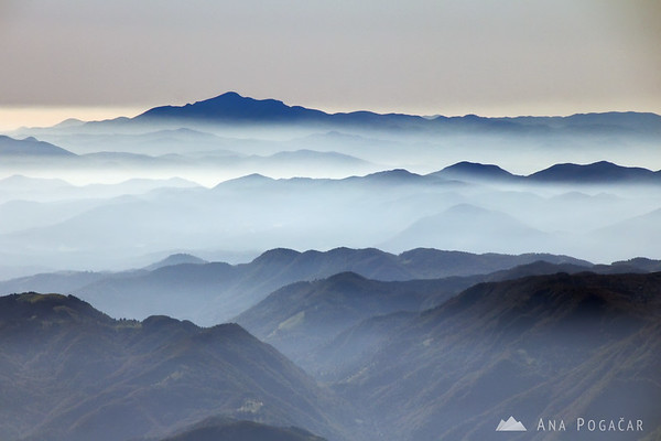 Layers of smog with Mt. Snežnik in the distance