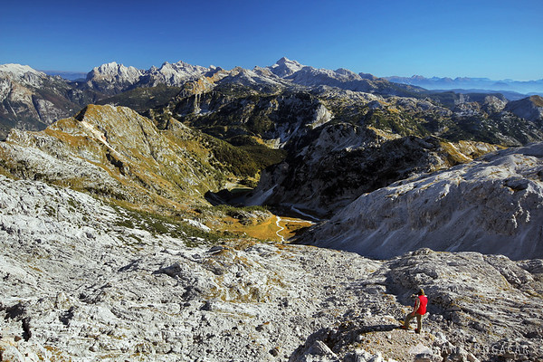 Views from Mt. Krn towards Mt. Triglav.
