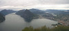 Spectacular panoramic view of Lugano city and surroundings from a big day hike.