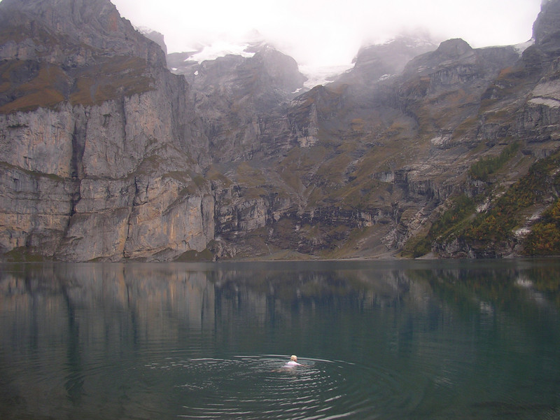 My sister  will swim in any lake, even those fed by melting glaciers.  But even she admitted this was a very cold  swim !