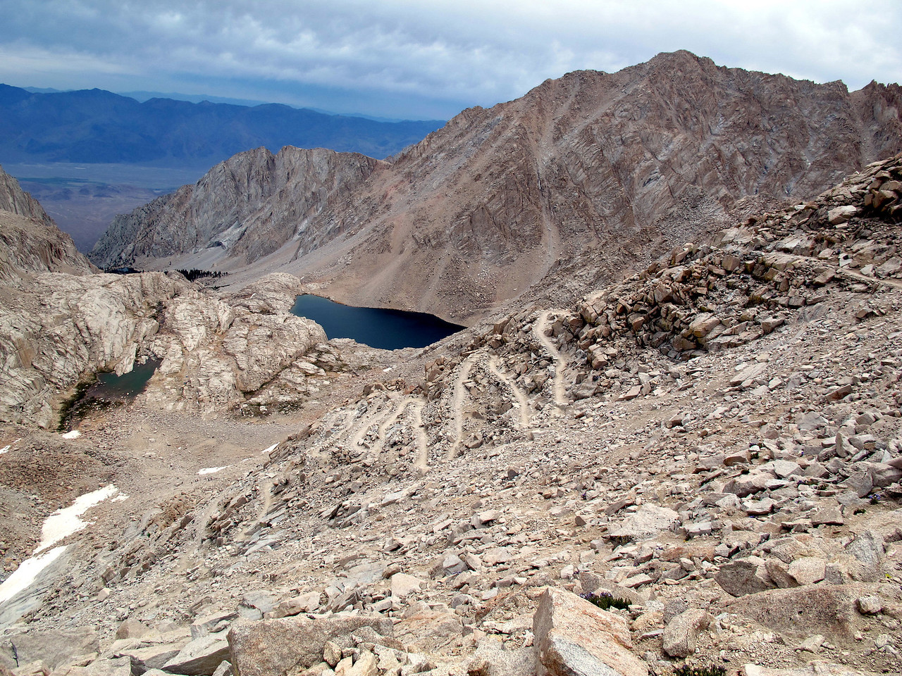 Part of the 97 switchbacks. The small lake on the middle left is Trail camp where we started from at 4:10 am.
