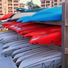 Stacked kayaks at Shelter Cove