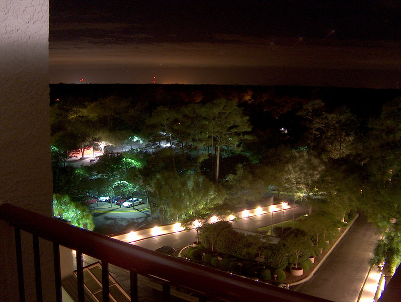 a night view of the resort grounds