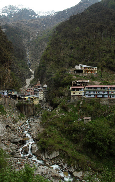 Yamunotri - River Yamuna and the temple at the top of the mountain