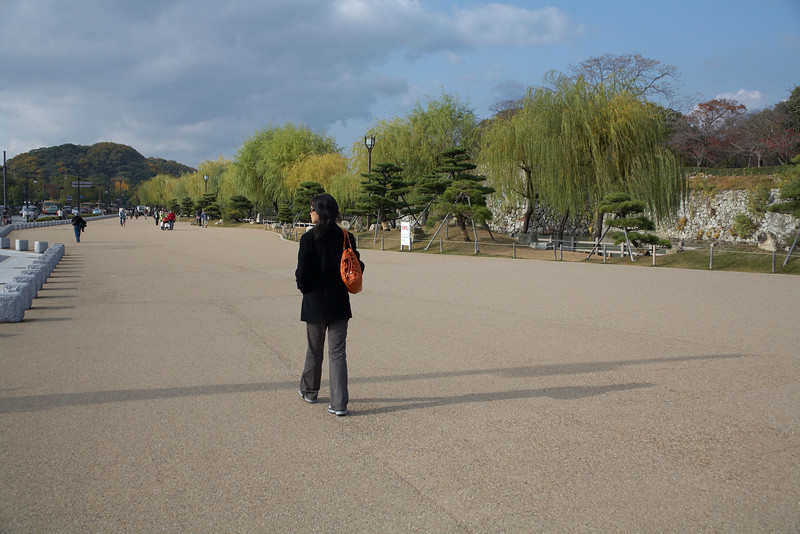 Walking towards Koko-en Garden. This garden is located a short walk west of Himeji Castle.