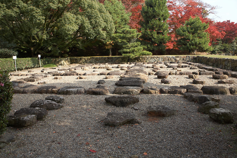 These stones are known as the Garden of the Main Tower. These stones are some of the original foundation stones of the main keep. They are laid out in the same manner that they were found beneath the keep. In 1956, extensive renovation and repair began. The entire keep's foundation was shored up with concrete because the ground was actually sinking from the weight of the castle. The keep was rebuilt using traditional building techniques.