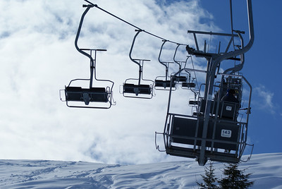 On the chair lift for the first run of the day.