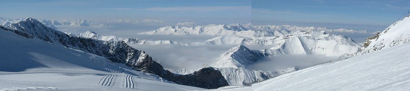 Panoramic view to the NW  from the top of the Hintertux Ski Area toward Inntal and Bavarian Alps. The lower peak in the foregound is Geier (2857m).