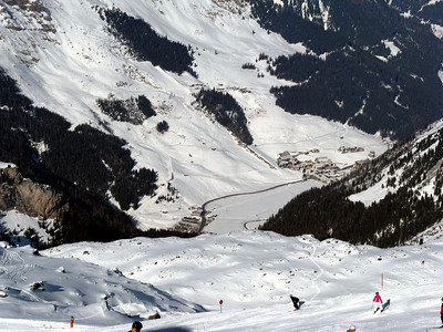 View of Tuxertal seen from the top of the Hintertux Ski Area. The village of Hintertux is to the right.