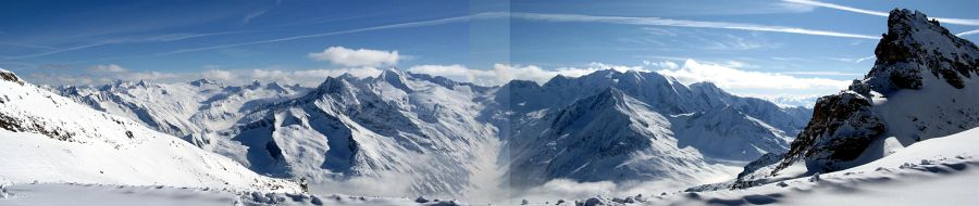 Panoramic view to the S from the top of the Hintertux Ski Area toward Italian Alps (Hochfeiler/Gran Pilastro, 3510 m and Großer Möseler/Grande Mèsule, 3486 m, are in the foreground)