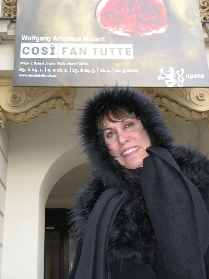 Lisa in front of Estates Theatre in Prague, where Mozart first conducted the world premiere of Don Giovanni in 1787.
