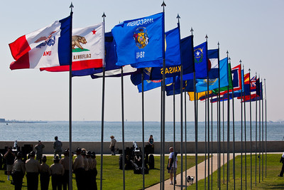 Just some of the 50 state flags flying as part of the Fort Monroe Deactivation Ceremony.