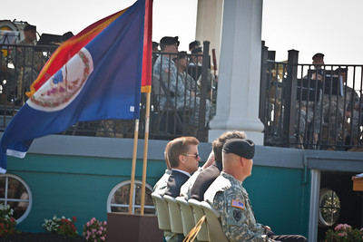 Governor McDonnell and the rest of the official party watch as the Fort Monroe garrison colors are cased.