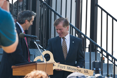Governor McDonnel hands the key over to Glenn Oder, Executive Director of the Fort Monroe Authority, commenting that he had the key but a short while.
