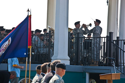 The Band plays a farewell tribute to the Fort as the official party and guest watch and listen.