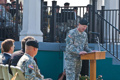 General Robert Cone, Commanding General of the Army's Training and Doctrine Command, delivers a farewell address to the post that housed the command since its inception in 1973.