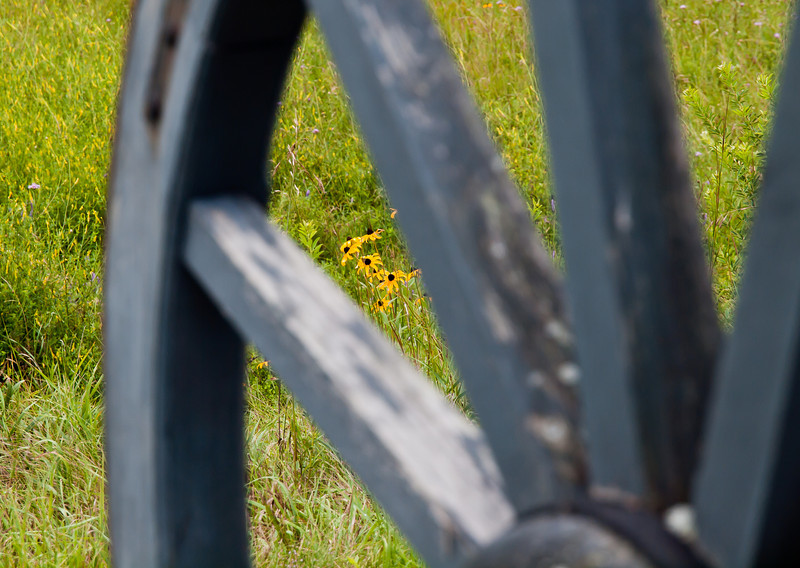 view through a British cannon wheel at the Balcarres Redboubt.