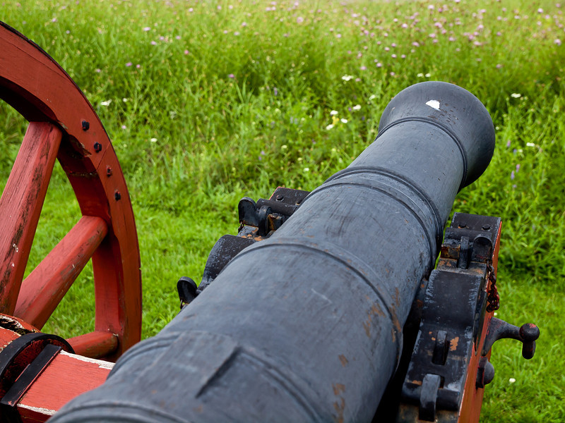 A strategically placed cannon at the Colonial fortified line at the Battle of Saratoga.