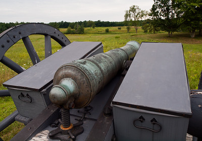 British cannon at the Breymann Redoubt at the Battle of Saratoga.  Here Benedict Arnold suffered his famous leg wound and is commemorated by the nearby Boot Monument.