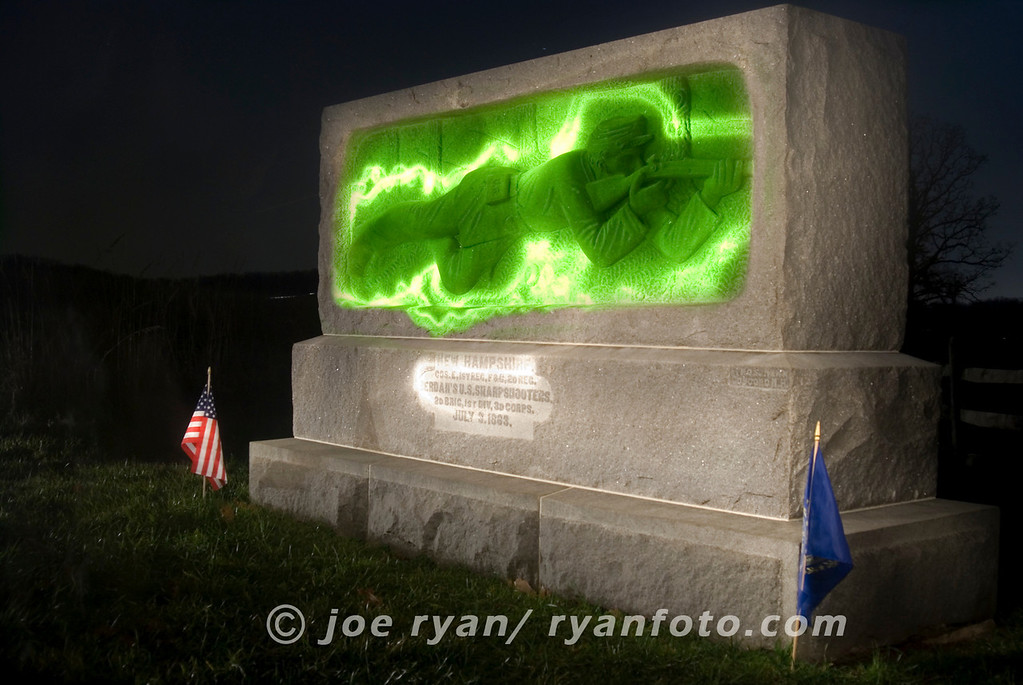 "Light painting technique<br /> ""New Hampshire Sharpshooters"" at Gettysburg Battlefield"