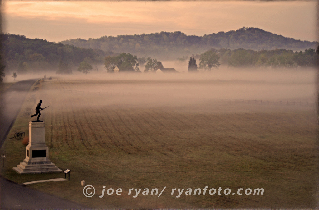 1st Minnesota monument in the early morning fog.<br /> Gettysburg, PA