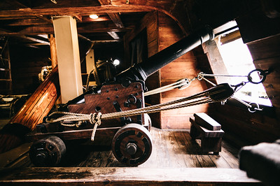 A cannon below deck.