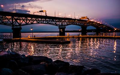 Amazing waterfront view during blue hour in Yorktown, VA.