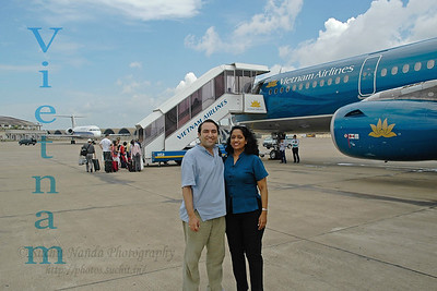 Anu & Suchit at the airport of Ho Chi Minh City (HCMC), Vietnam, Jun 2005