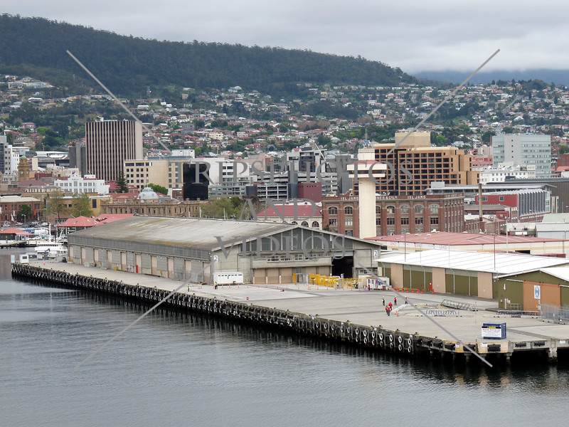 The city view and cruise ship terminal at Port of Hobart in the island of Tasmania, Australia.