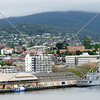 The city view and ship terminal at Port of Hobart in the island of Tasmania, Australia.